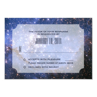 Elegant Night Sky / Space Theme Wedding RSVP Card