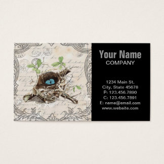 Elegant Nostalgia birdnest vintage botanical art Business Card