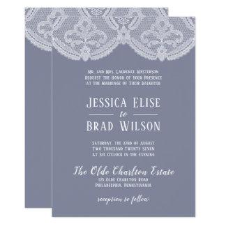 Elegant Nostalgic Lace Steel Blue   White Wedding Invitation