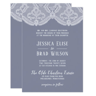 Elegant Nostalgic Lace Steel Blue | White Wedding Invitation