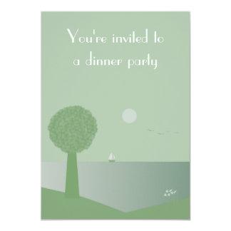 """Elegant Ocean At Night Dinner Party Invitations 5"""" X 7"""" Invitation Card"""