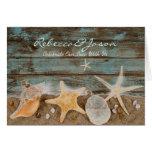 elegant ocean cottage seashells beach wedding greeting cards