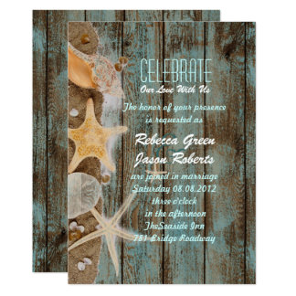 elegant ocean cottage seashells beach wedding card