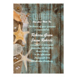 elegant ocean cottage seashells beach wedding card