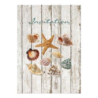 elegant ocean cottage seashells beach wedding custom invitations
