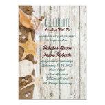 elegant ocean cottage seashells beach wedding 5x7 paper invitation card