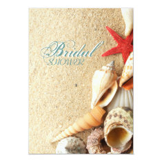 elegant ocean sand seashells beach bridal shower 5x7 paper invitation card