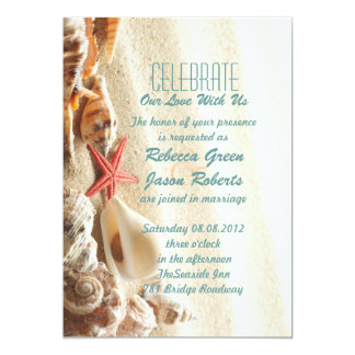 elegant ocean sand seashells beach wedding card