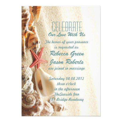 elegant ocean sand seashells beach wedding invitations