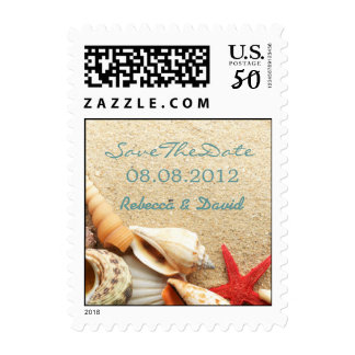 elegant ocean seashells beach save the date postage