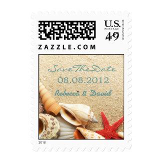 elegant ocean seashells beach save the date postage stamp
