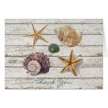 elegant ocean seashells beach wedding thank you greeting cards
