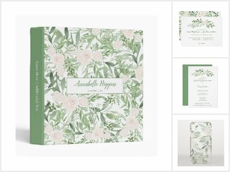 Elegant Off-White & Green Watercolor Floral