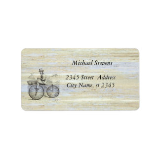 Elegant old bike vintage wooden label