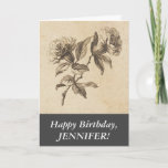 [ Thumbnail: Elegant, Old Fashioned Look Flowers Happy Birthday Card ]