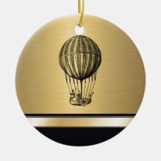 Elegant old flying balloon gold monogram Double-Sided ceramic round christmas ornament