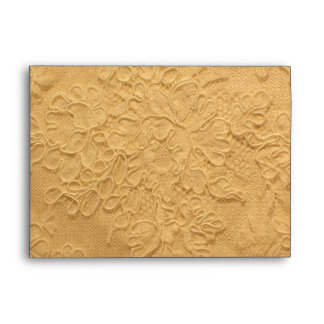 Elegant Old Yellow Lace Wedding Envelope
