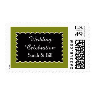 Elegant Olive Green and Black Postage Stamps