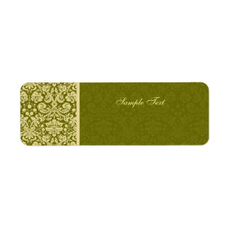 Elegant Olive Green & Beige Damask Color Select Label