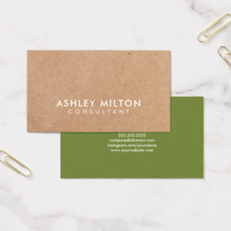 Elegant Olive Green PRINTED Kraft Consultant Business Card