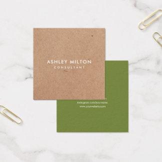 Elegant Olive Green PRINTED Kraft Consultant Square Business Card