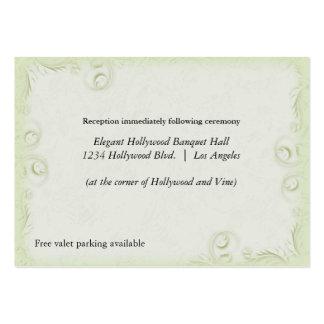 Elegant Olive Scrollwork Wedding Reception Card Large Business Cards (Pack Of 100)