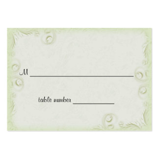 Elegant Olive Scrollwork Wedding Table Placecard Large Business Cards (Pack Of 100)