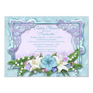 Elegant Ombre Floral Blue Baby Shower Invitation
