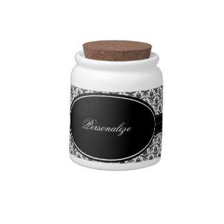 Elegant Onyx Damask Jar Candy Dish