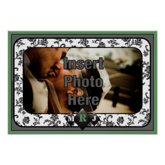 Elegant Onyx Monoggram Photo Frame Print