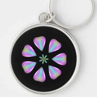Elegant Opalescent Purple and Blue Flower on Black Keychain