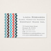 Elegant Orange and Aqua Teal Chevron Pattern Business Card
