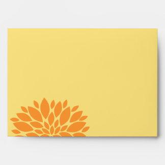 Elegant Orange and Light Yellow Floral Burst Envelope