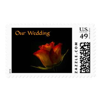Elegant Orange and Yellow Rose Wedding Postage Stamp