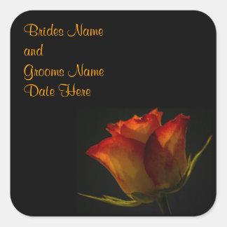Elegant Orange and Yellow Rose Wedding Square Sticker