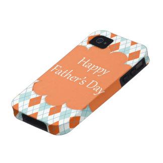 Elegant Orange Argyle Pattern Dad iPhone 4 Case