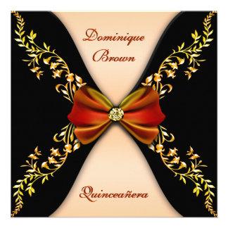 Elegant Orange Black Diamond Bow Quinceanera Custom Invitations