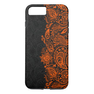 Elegant orange & Black Floral Paisley Lace iPhone 7 Plus Case