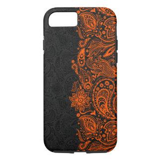 Elegant orange & Black Floral Paisley Lace iPhone 8/7 Case