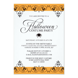 Elegant orange damask Halloween costume party Card