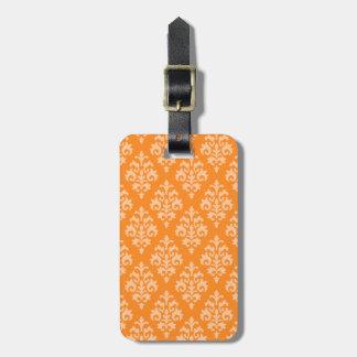 Elegant Orange Damask Luggage Tag