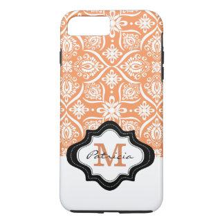 Elegant Orange Damask Pattern Custom Monogram [3] iPhone 8 Plus/7 Plus Case