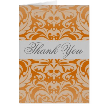Professional Business Elegant Orange Damask Silver Ribbon Thank You Card