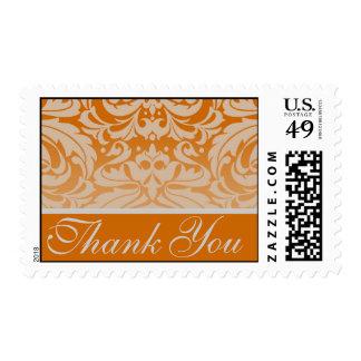Elegant Orange Damask Thank You Postage Stamp