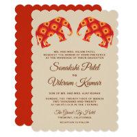 Elegant Orange Elephants Indian Wedding Invitation