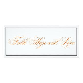 Elegant Orange Faith Hope Love Wedding Invitation