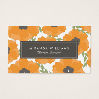 Elegant Orange Floral Business Cards