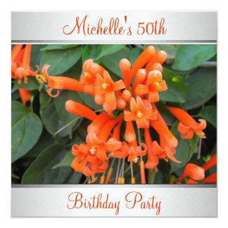 Elegant Orange Flower Photo 50th Birthday Card