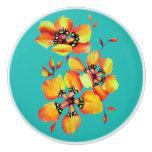Elegant Orange Flowers - Aqua Ceramic Knob