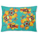 Elegant Orange Flowers - Aqua Pet Bed